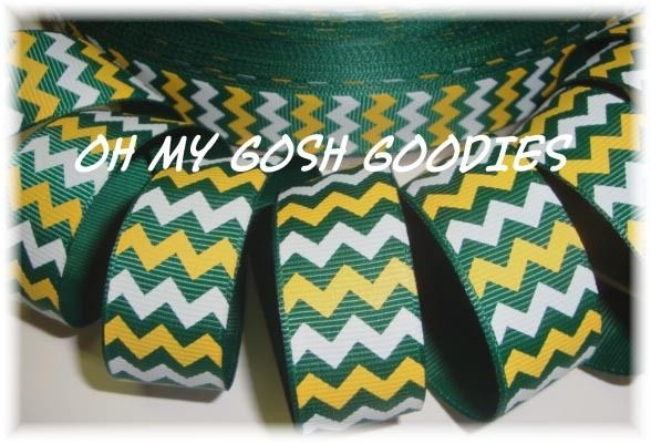 7/8 FOREST GOLD WHITE CHEVRON GROSGRAIN RIBBON 4 CHEER BOW FOOTBALL 4 HAIRBOW