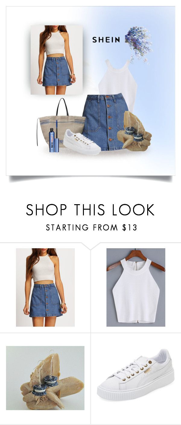 Denim skirt by styledonna on Polyvore featuring moda, Puma and Benefit
