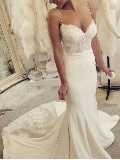 wedding dress,wedding dresses,Spaghetti Straps Sweetheart Wedding Dress,Sexy Lace Pearl Mermaid Wedding Dresses,Satin Wedding Gown,Bridal Dresses 2017,Beach Wedding Dress