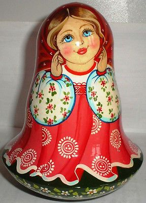 Gorgeous Wooden Musical Doll Roly Poly Girl Ukrainian Art | eBay