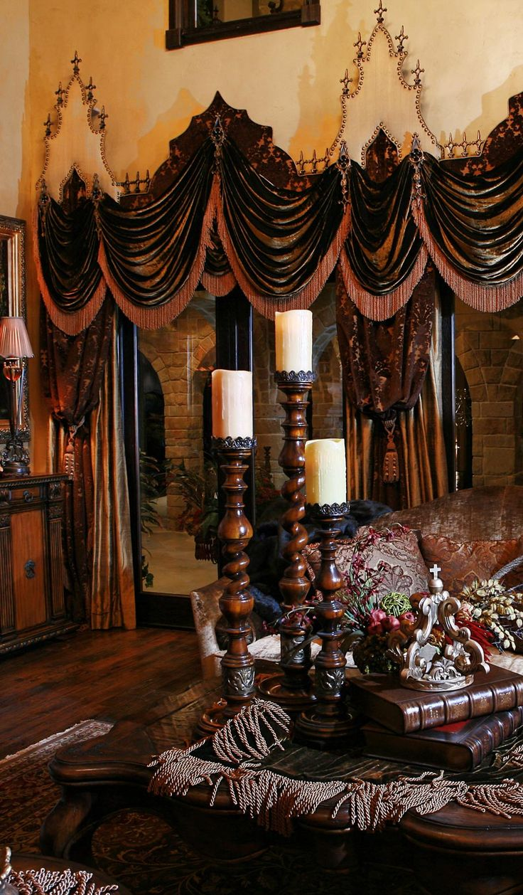 Grandeur designs warmth of tuscan decor pinterest for Old world curtains and drapes