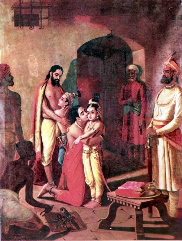 Krishna and Balarama meet their father and mother - Vasudeva and Devaki. Thus a personal name of Krishna as Vaasudeva or son of Vasudeva, and Devakinandana, son of Devaki. Painting by Raja Ravi Varma