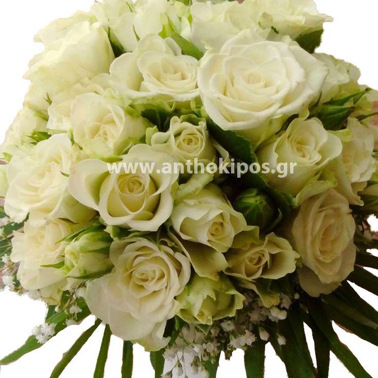 Νυφική Ανθοδέσμη γάμου με λευκό μινιόν τριαντάφυλλο
