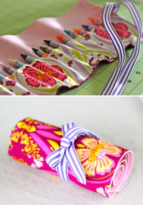 DIY: crayon roll-- I would love to carry this in my church bag instead of the old ziploc baggie! Update: My mom and I made 21 of these for Christmas, they were so cute. We did larger ones for colored pencils for the older kids. So fun, but I am so done making them!