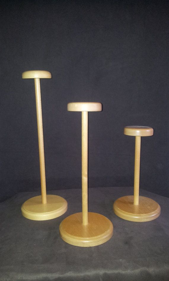 3er Set Huthalter Hutständer aus Holz gebraucht