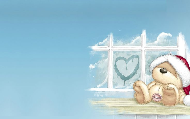 Скачать обои мишка, пуговица, Новый год, настроение, детская, шапка, праздик, сердце, зима, окно, сердечко, раздел новый год в разрешении 1956x1132