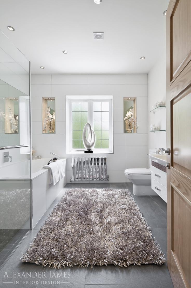 Elegant, bright #bathroom lit with natural light. #interiordesign #home