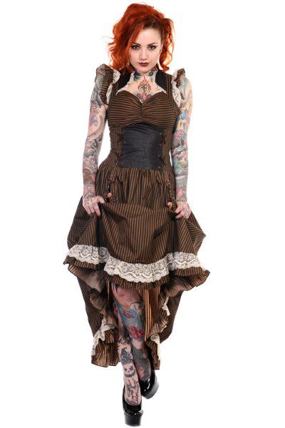 Brown and Black Stripe Steampunk Victorian Dress by Banned
