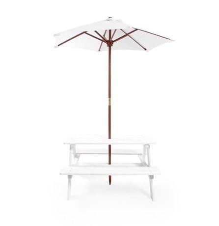 Köp Woodlii Picknickbord med Parasoll Vit   Leksaker Utelek   Jollyroom