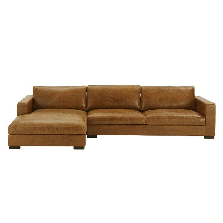 Canapé d'angle 5 places fixe cuir vintage marron LINCOLN