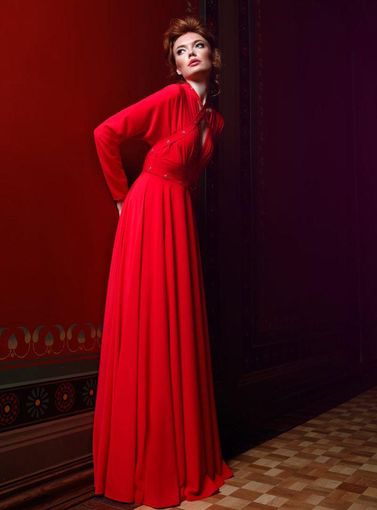 Красное платье с длинным рукавом из шифона | Red dress long sleeve chiffon