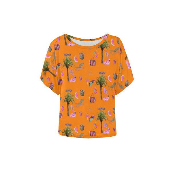 Aloha Summer Fun 2C Women's Batwing-Sleeved Blouse T shirt (Model T43) ($23) ❤ liked on Polyvore featuring tops, bat sleeve tops, summer tops, batwing sleeve tops and orange top