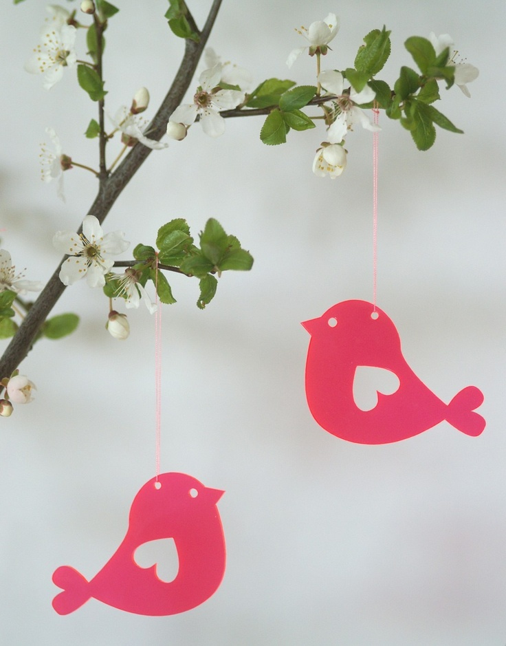 Love Birds - lasercut acrylic birds in neon red. $13.00, via Etsy.