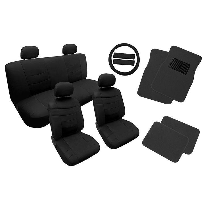 Unique Leather Seat Cover Set Black w/4pc Floor Mats 14pc Set For Honda Civic (Color)
