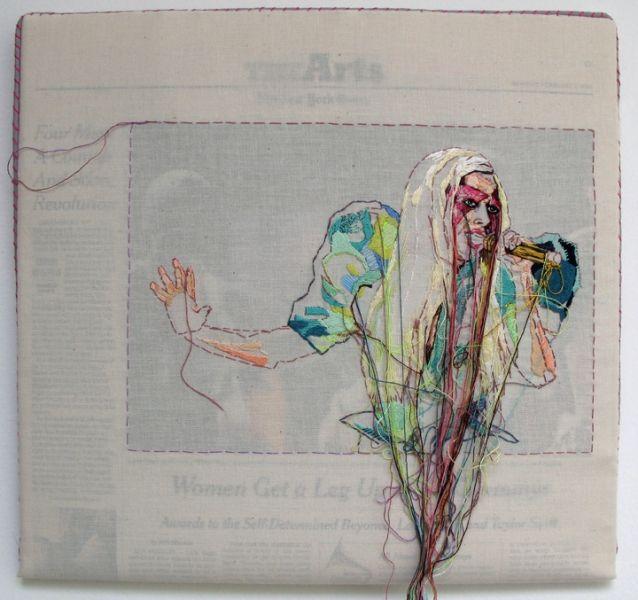 Lauren DiCioccio 1FEB2010 (Lady Gaga) Hand-embroidery on cotton over The New York Times 2010 laurendicioccio.com