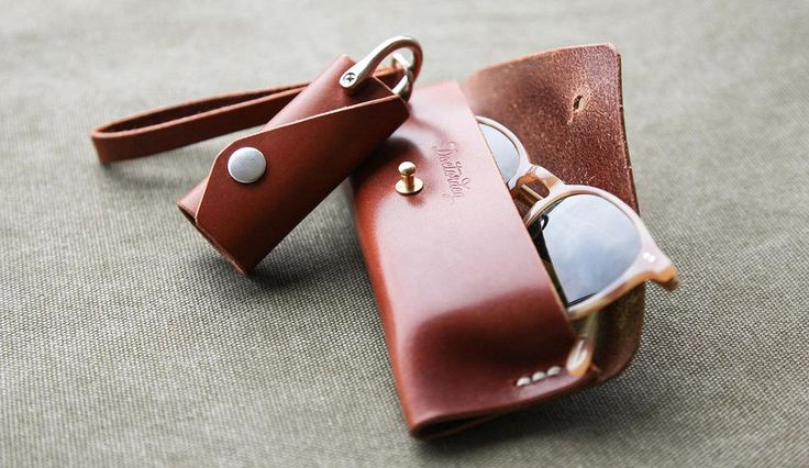 Leather case for glasses. Key cover.