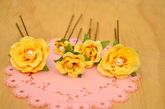 BRENDA LEE A set of 5 yellow wedding flower by BoutiquebyBrendaLee