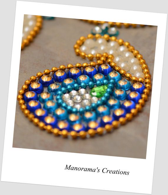 Floor Art-Kundan Rangoli Designs studded with Two Beautiful Shades of Blue Kundan Stones, Lab Synth Glass Pearls & Gold Plated Bead Liners!