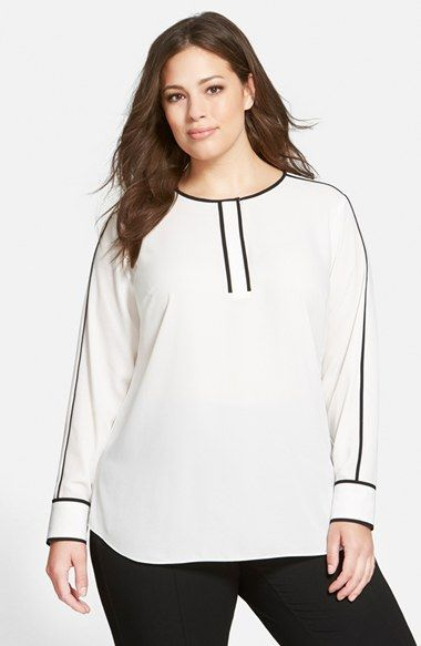 Vince+Camuto+Contrast+Piped+Long+Sleeve+Blouse+(Plus+Size)+available+at+#Nordstrom