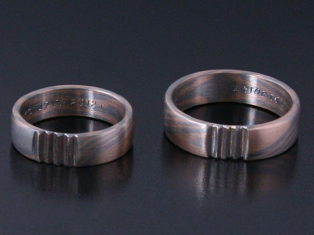 Rings by Bielak  Poland  mokume gane: palladium / pink gold  satin pattern