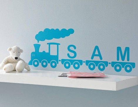 Personalised Train Vinyl Wall Sticker | Contemporary Wall Stickers | Contemporary Wall Stickers