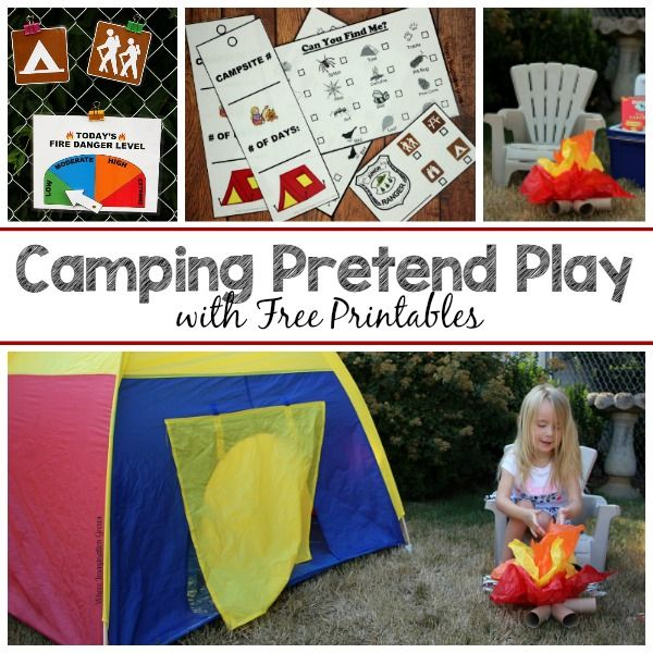 Backyard camping pretend play activity for preschoolers. A simple dramatic play center with free camping & park ranger printables for imaginative play!