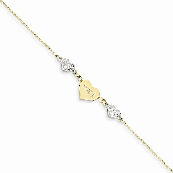 14k Two-tone Ropa D/c Beads/puff Heart Love W/ 1in Ext Anklet, Best Quality Free Gift Box * Be sure to check out this awesome product. (This is an Amazon Affiliate link and I receive a commission for the sales)