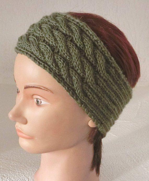 Wool headband, Headband, headband, woman, girl, Green Khaki, cable ... a895e4f8ff1