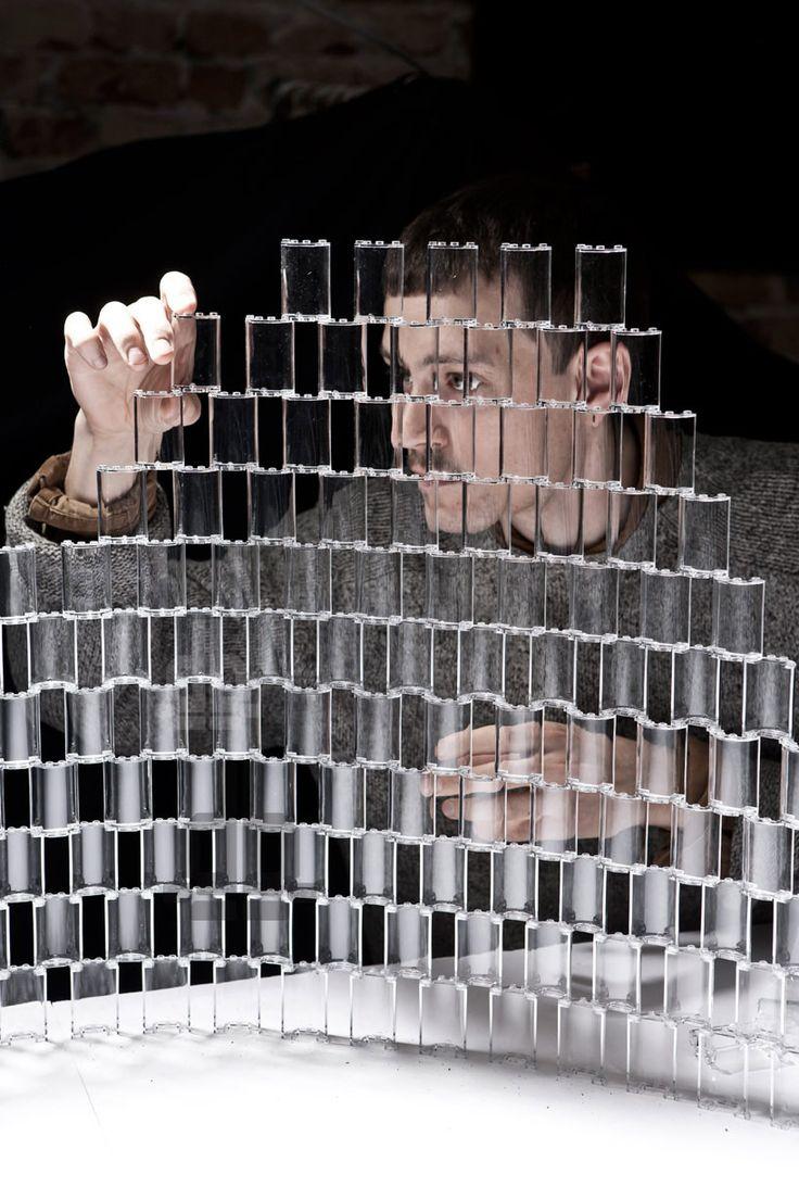 transparent LEGO chandelier by tobias tostesen - designboom | architecture