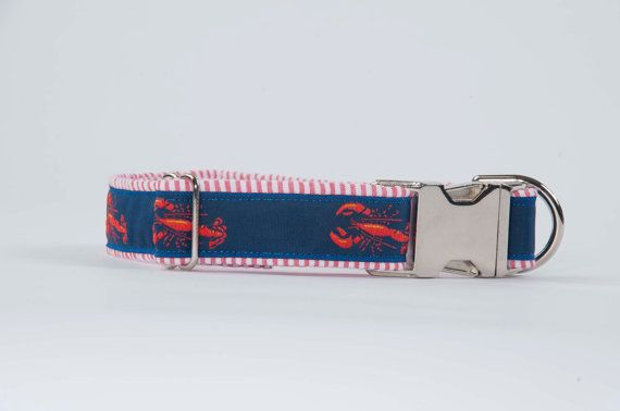 Preppy Seersucker Lobster Dog Collar Preppy Dog by thesouthernpup, $35.00