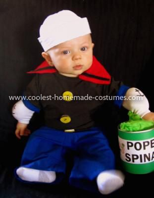 Homemade Baby Popeye Costume: This Homemade Baby Popeye Costume was such an easy and cute costume to put together for my little Popeye.   The pants were made with some blue fabric I