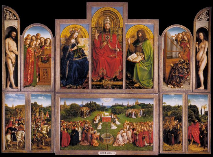 Jan Van Eych / The Ghent Altarpiece (wings open) / 1432 / Oil on wood, 350 x 461 cm / Cathedral of St Bavo, Ghent / The most famous work of Jan van Eyck is a huge Ghent Altarpiece with many scenes in the city of Ghent. It is said to have been begun by Jan's elder brother Hubert, of whom little is known, and was completed by Jan in 1432.