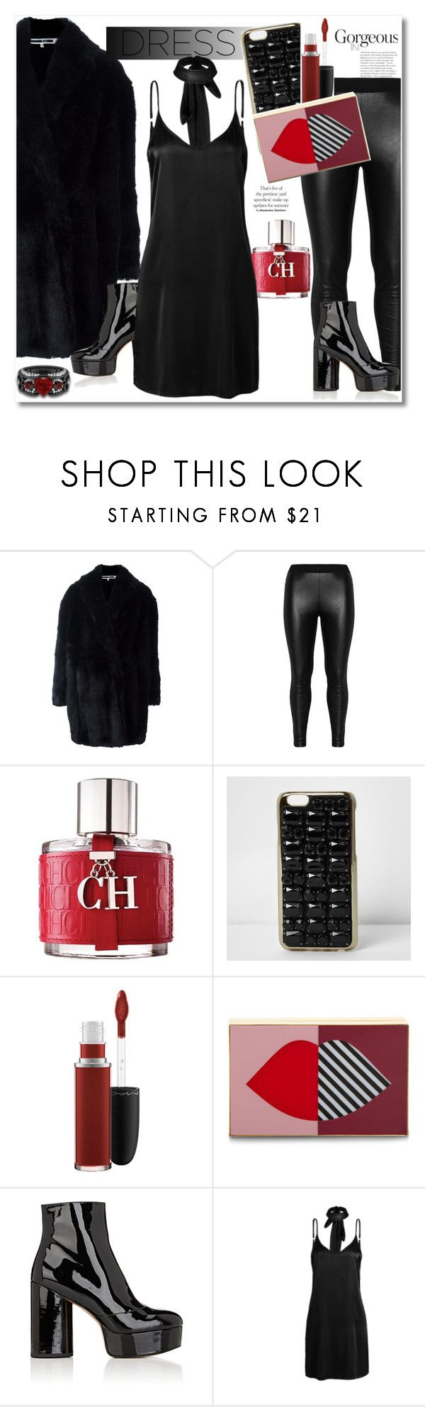 """""""Get the look Chocker dress"""" by vkmd ❤ liked on Polyvore featuring Alexander McQueen, Zizzi, Carolina Herrera, River Island, MAC Cosmetics, Lulu Guinness, Marc Jacobs, WithChic and chokerdress"""