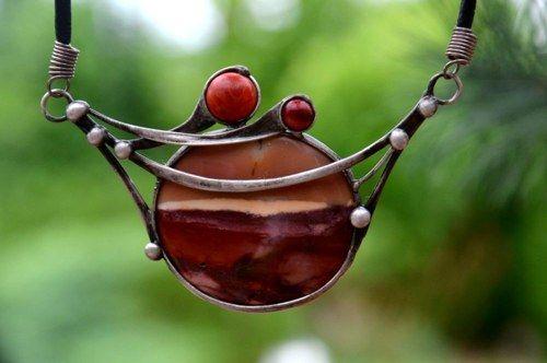 Čevánky - jaspis mookait,  korál