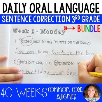 AN ENTIRE SCHOOL YEAR of daily sentence correction aligned to the 3rd grade Language Common Core! Five DOL booklets (8 weeks long in length) take your students through 40 weeks of daily sentence correction! A Common Core alignment guide is included so teachers can track what standards are being addressed each day. Rounding out the unit is an answer key, to make things as simple as possible for the teacher!