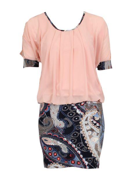 roze jurk met blauwe rok in print - Korte jurken - BoBo Tremelo