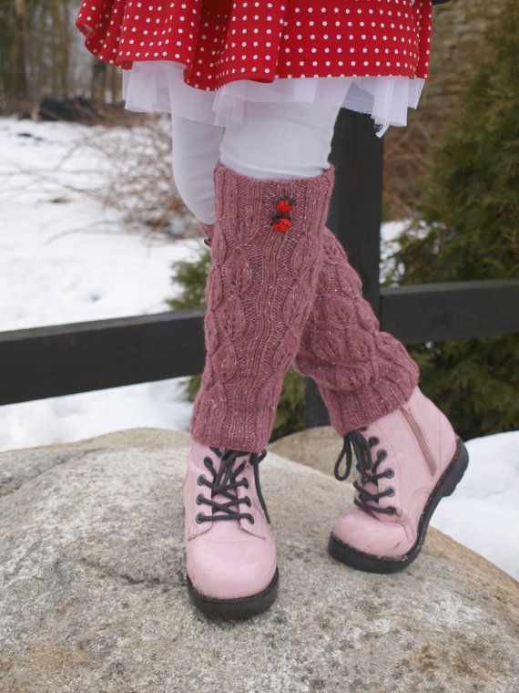 Hand knitted youthful pink lace legwarmers decorated with cute ladybug buttons. Stretchy lace leaf pattern makes them suitable for about 4-7 year
