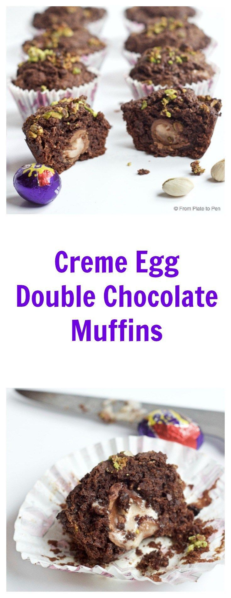 Creme Egg Double Chocolate Muffins with caramelised pistachios topping. A yummy tea time treat to bake for Easter that all the family can enjoy.