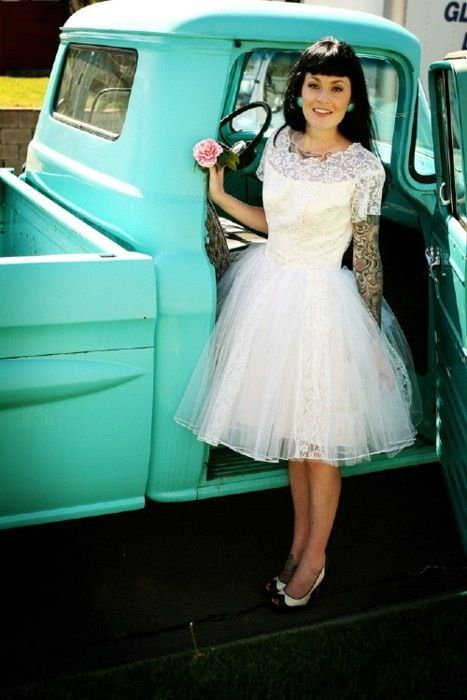 gorgeous rockabilly wedding dress! && I love the pic by the truck. I really really want something like this.