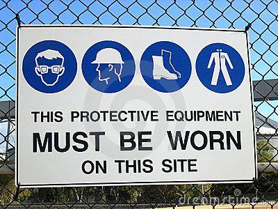 insegna equipaggiamento  di sicurezza, sul lavoro !