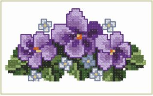 Machine Cross Stitch Violets