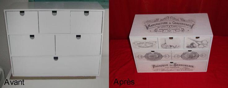 avant apr s petit meuble de bureau customis avant apr s pinterest avant apr s meuble de. Black Bedroom Furniture Sets. Home Design Ideas