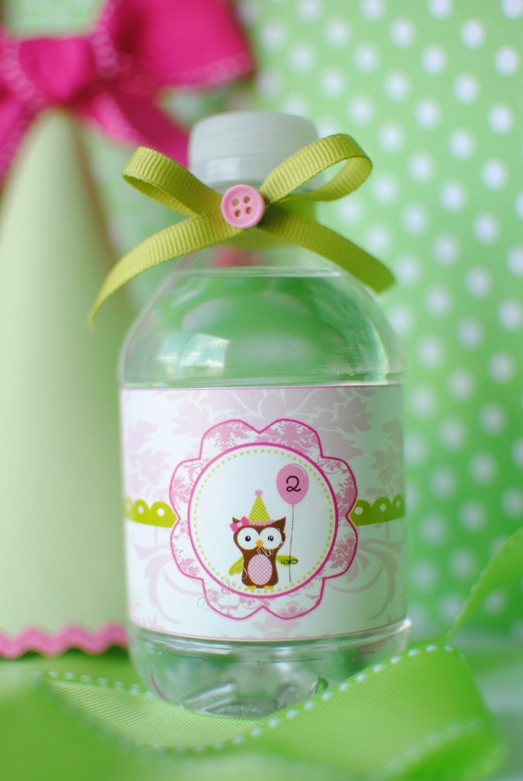 Printable Owl birthday party water bottle
