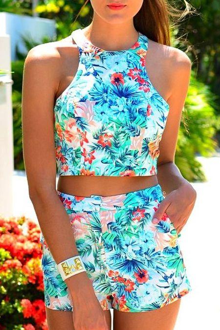 Halter Crop Top + Floral Print Shorts Twinset