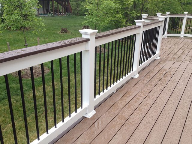 deck with white railing outdoor ideas pinterest vinyls decking and back deck. Black Bedroom Furniture Sets. Home Design Ideas