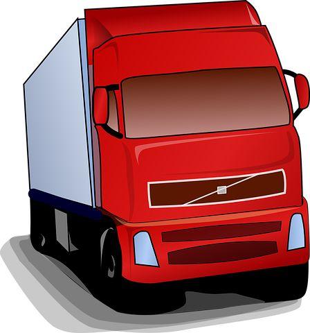 Caminhão, Red, Estrada, Transporte