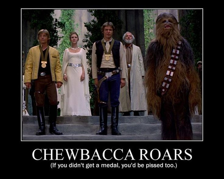 chewbacca roars if you didnt get a medal youd be