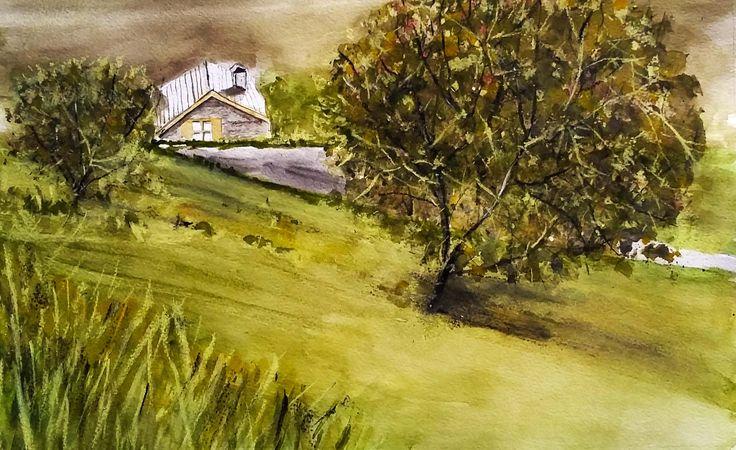 Vista sull'Agriturismo Bonprà   -  acquerello e gessetti