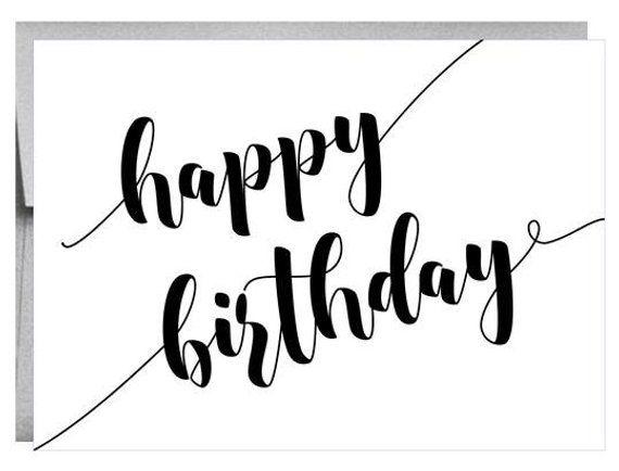 Bold Happy Birthday Greeting Card Script Black And White Happy