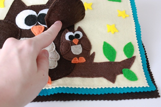 Animal Quietbook-too cute with the baby owl hidden under mommy owls wing.